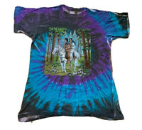 Vintage Native American Man & Woman tie dye T-shirt Horse Size L 80s Springhill