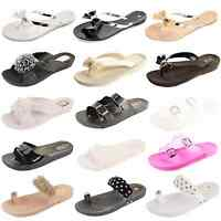 WOMENS LADIES GIRLS FLAT SUMMER BEACH JELLY RETRO FLIP FLOPS SANDALS SHOES SIZE