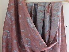 NWT Bajra Saks -Nepal- Fine Wool Giant Metallic Paisley Scarf Shawl 30x82