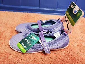 """Speedo """"Mary Jane"""" Water Shoes Girls Swim Shoes Purple Size Sz XL 11-12 Kids NWT"""