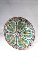 Antico Piatto Ceramica Policroma Mokhfia Marocco Fes Epoca XIX°