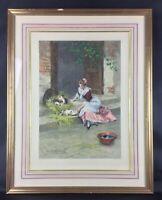 """Superbe et grande gravure Lithographie d'ap D.Hernandez """"Mes chats"""" Art nouveau"""
