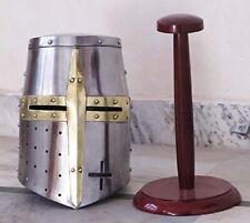 indianromanhandicraft ROLO Medieval Templar Crusader Knight Armor Helmet + STAND