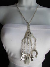 NEW WOMEN METAL SILVER CHAIN HAND 13 HORSE SHOE FASHION LONG LUCK SIGNS NECKLACE