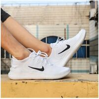 NIKE FREE RN 2018 Running Trainers - White - UK Size 9 (EUR 44) Gym Run Casual