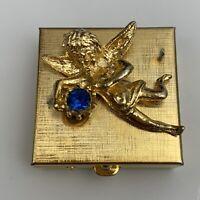 Gold Tone Angel Cherub Rhinestone Pill Box Vintage Pillbox