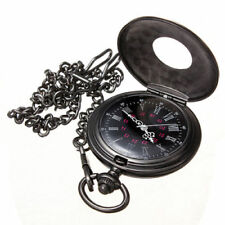 Vintage Steampunk Black Roman Numerals Necklace Quartz Pendant Pocket Watch Gift