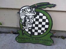 Vintage  Harry's Motors Porcelain Sign Indian Harley Davidson Camping Hunting