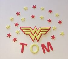 Edible Wonder Woman sugarpaste Cake Topper With Stars And Name marvel Sugar