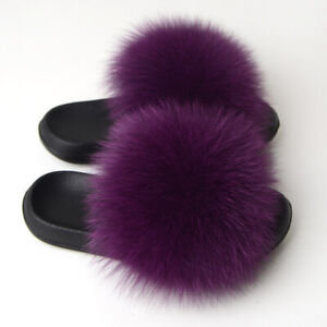 Womens Real Fox Fur Slides Slippers Beach Sandals Indoor Outdoor Holiday Shoes