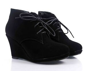 """Black Side Zipper  Lace Up Booties Womens 3.25"""" Wedge Heels Ankle Boots Size 8.5"""