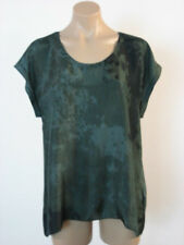 EILEEN FISHER Printed Silk Graphite Scoop Neck Hi Lo Top Blouse Medium NWT $178