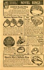 1950 Print Ad of Weird Mysto Rings Chinese Symbol, Snake, Indian Corozo, Genii