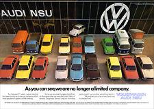 VW AUDI NSU BEETLE POLO GOLF TYPE 2 RANGE RETRO POSTER A3 PRINT FROM 70'S ADVERT