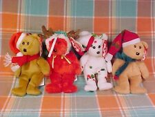 LOT OF FOUR (4) TY JINGLE BEANIES HOLIDAY TEDDY BEAR ORNAMENTS NEW WITH TAGS