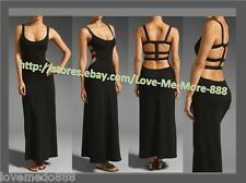 LARGE - Womens Clubbing Party open back straps cross sleeveless Maxi Dress BLACK