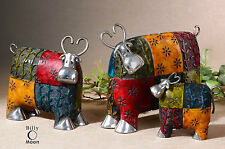 THREE NEW METAL COW FIGURINES MODERN CONTEMPORARY FARM ANIMAL DECOR