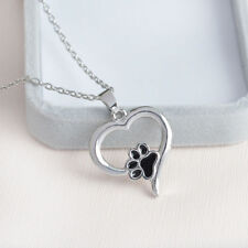 Hot Silver Lover Pet Necklace Puppy Dog Cat Paw Print Pendant Heart Chain Xmas C