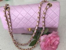 AUTHENTIC CHANEL GHW DOUBLE FLAP LAMB LEATHER CHAIN SHOULDER BAG W25 PINK