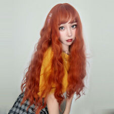Orange Long Curly Lady Synthetic Hair Wig Heat Resistant Anime Cosplay Wigs