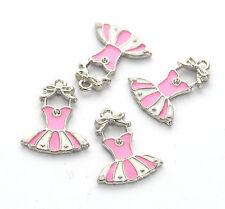 4 Pink Enamel BALLERINA DANCER Ballet Tutu Silver Metal Charms. 19x17mm. CHE0026