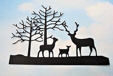 Die Cut Christmas Reindeer and tree x 4 black silhouette