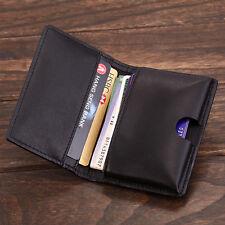 KS Classic Men's Genuine Leather Business Name Credit Card Holder Cover Black