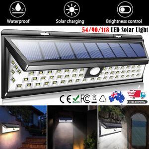 54 90 118 LED Solar Motion Sensor Light Outdoor Garden Security Lamp Floodlight