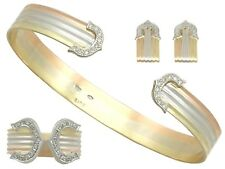 Vintage 0.86 ct Diamond & 18 ct White Yellow & Rose Gold Jewellery Suite 1970s