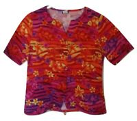 Barco Uniforms Size Small Bright Orange Floral Nautical Button Front Scrub Top