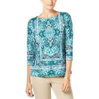 Charter Club Blouse Boat-Neck Top Turquoise Paisley 3/4 Sleeve Womens Size PM