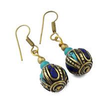 Turquoise Lapis Brass Earring Tibetan Nepalese Handmade Tibet Nepal ER1130