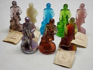 Lot of 8 Boyd's Glass Crystal Colonial Men Glass Dolls All Different Colors