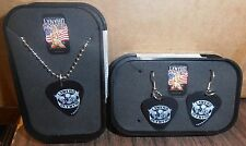 Wholesale Lot of 6 Lynyrd Skynyrd Guitar Pick Necklace/Earings/Collecto r Box New