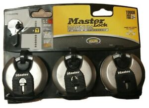 Master Lock Magnum Pad Lock Set 3 Stainless Steel 2-3/4 Inch M40XTRI Keyed Alike
