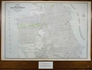 "Vintage 1901 SAN FRANCISCO CALIFORNIA Map 22""x14"" ~ Old Antique MISSION DOLORES"