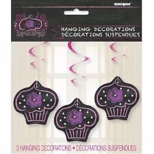 3 HANGING DECORATIONS BLACK BIRTHDAY GIRLS CUP CAKE PARTY CHILDRENS DECORATION