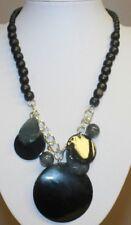 Black Beaded Necklace w/ Black & Gray Lucite Pendant Dangles Statement Vintage