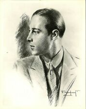 RUDOLPH VALENTINO 8x10 Photo of Charcoal Drawing By E. Woodward Silent Film