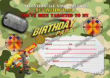 Nerf gun/Nerf war/ Army/Nerf war  Birthday Party Invitations for boys X 10 CARDS