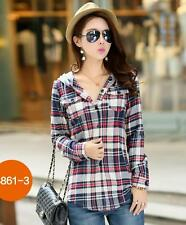 Women's Long Sleeve Plaids & Checks Button Front Hooded Casual Shirts Tops M-2XL