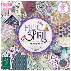 """6"""" x 6"""" 48 Sheet Full Pad FREE SPIRIT Card Making Scrapbook Craft Backing Paper"""