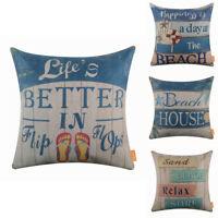 """Blue Flip Flops Seaside Beach Nautical 18"""" Cushion Cover Pillow Case Room Sofa"""