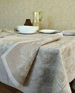 luxury SET tablecloth + 6 napkins natural 100% LINEN premium quality jacquard