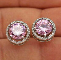 1.2Ct Round Cut Pink Sapphire & Diamond Halo Stud Earrings 14K White Gold Finish