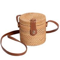 Handicraft Woven Rattan Bags bucket Women Handmade Beach Basket Bucket Bag