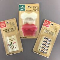 Lot of 3 packages Goody 1980s vtg plastic fashion hair combs & ponytail holders