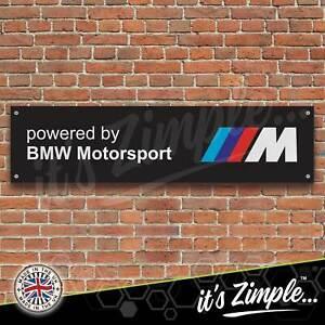 Powered by BMW Motorsport Black Banner Garage Workshop PVC Trackside Sign