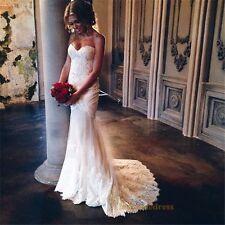 2017New Lace Appliques Mermaid Wedding dress Bridal Gown Custom Size 2 -18+++