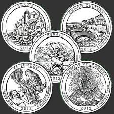 USA Quarter Dollar American the Beautiful  Reine Serie 2012  5 Münzen #